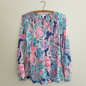 Lilly Pulitzer Willa Indigo Gypsea XXS blouse